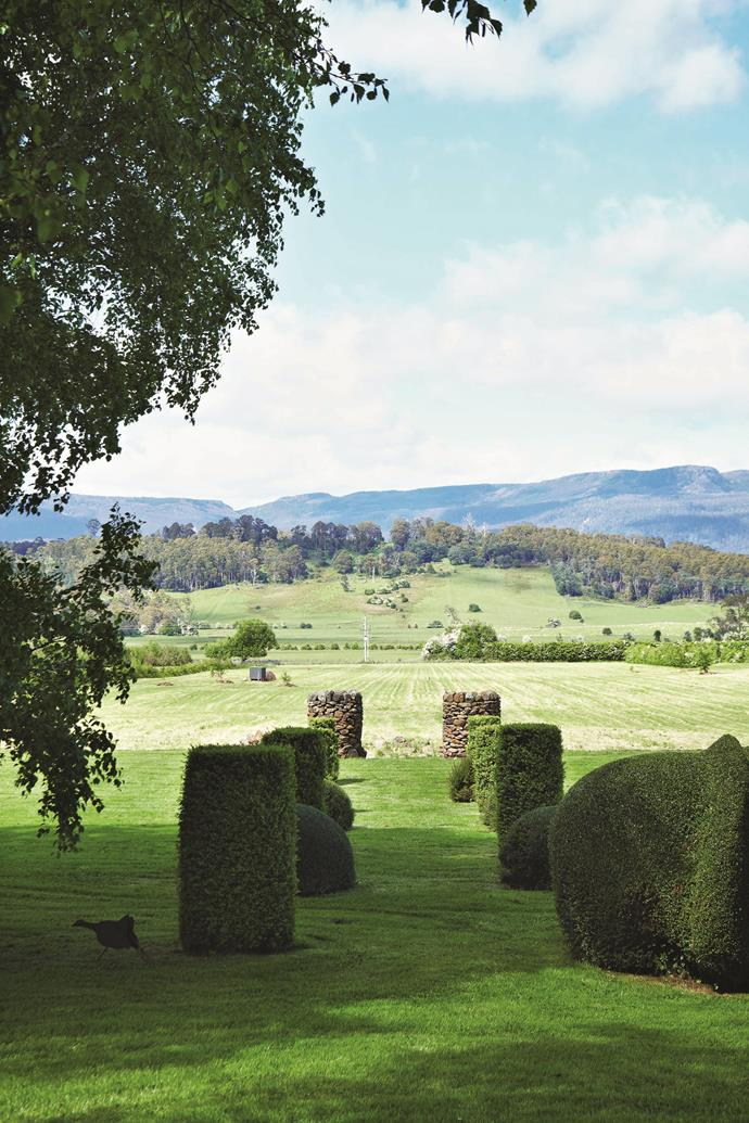 Topiary and stone pillars direct the eye to the 'borrowed landscape' of the Great Western Tiers.