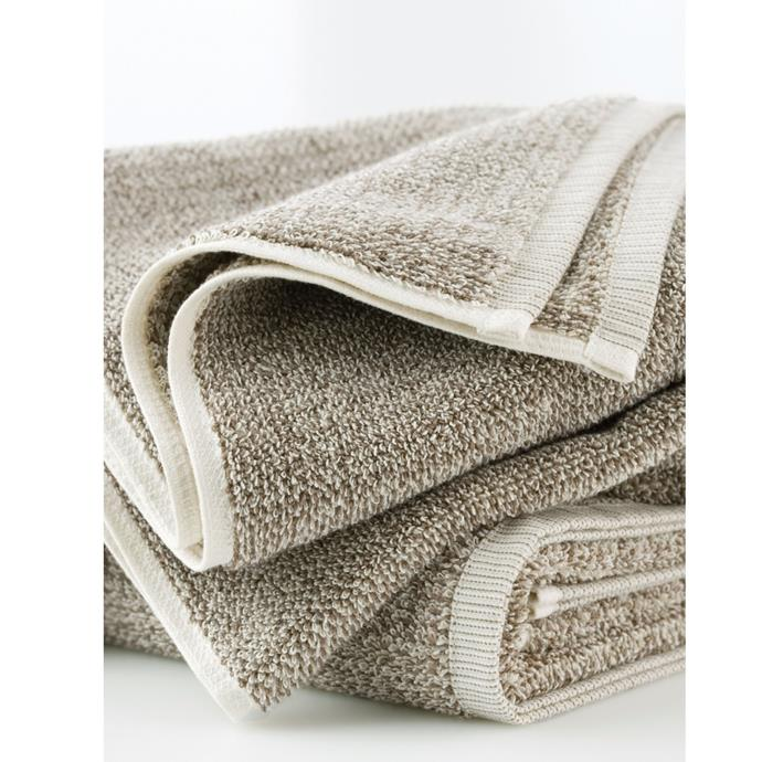 """**Tweed Light Bath Towel, $61, [L&M Home](https://www.lmhome.com.au/collections/bathroom/products/tweed-light-towels