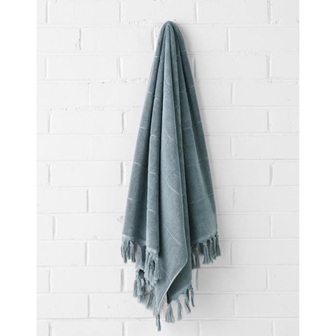 """**Paros Bath Sheet, $79.95, [Aura Home](https://www.aurahome.com.au/paros-bath-sheet-mahogany