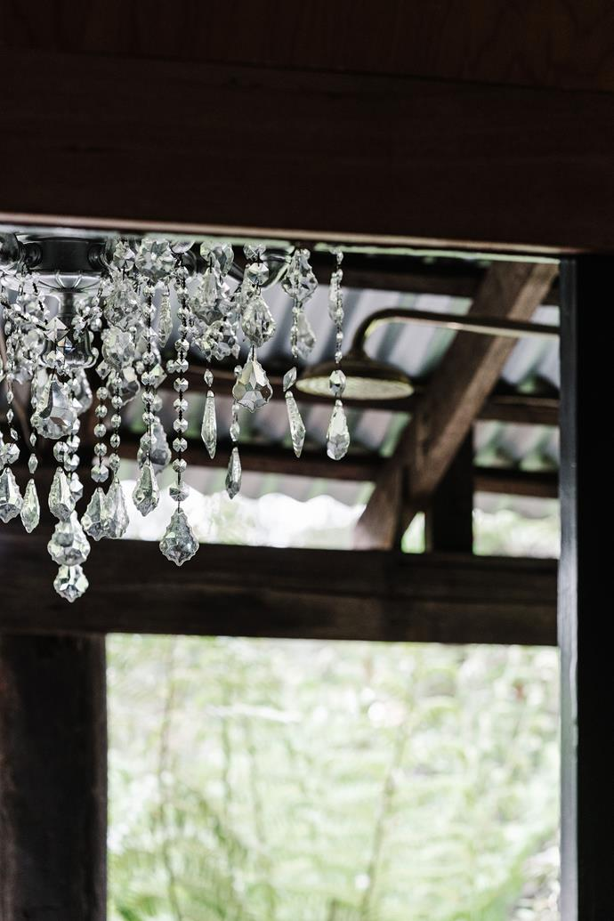 A chandelier adds a little glam.