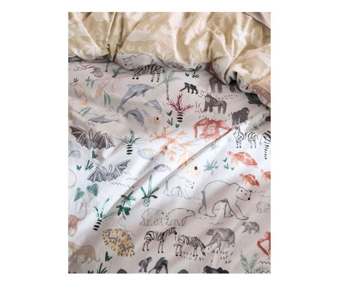 """**[Linen House I Spy Something Wild quilt cover set, from $109.99, Myer](https://www.myer.com.au/p/linen-house-kids-i-spy-something-wild-quilt-cover-set-in-multi
