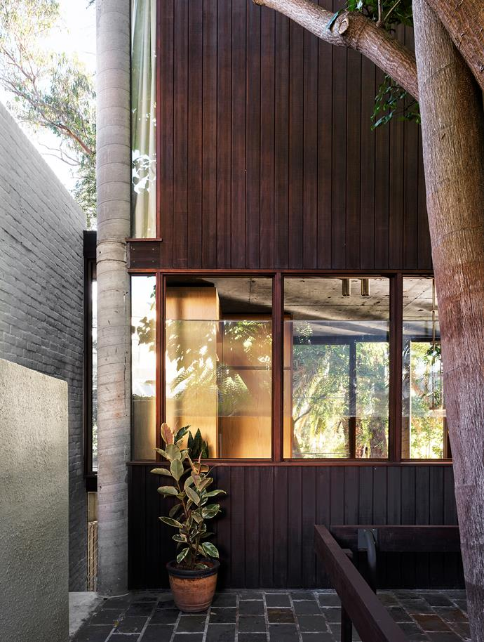 Treated radiata pine from New Zealand is sustainably sourced while echoing a 70s tonality.