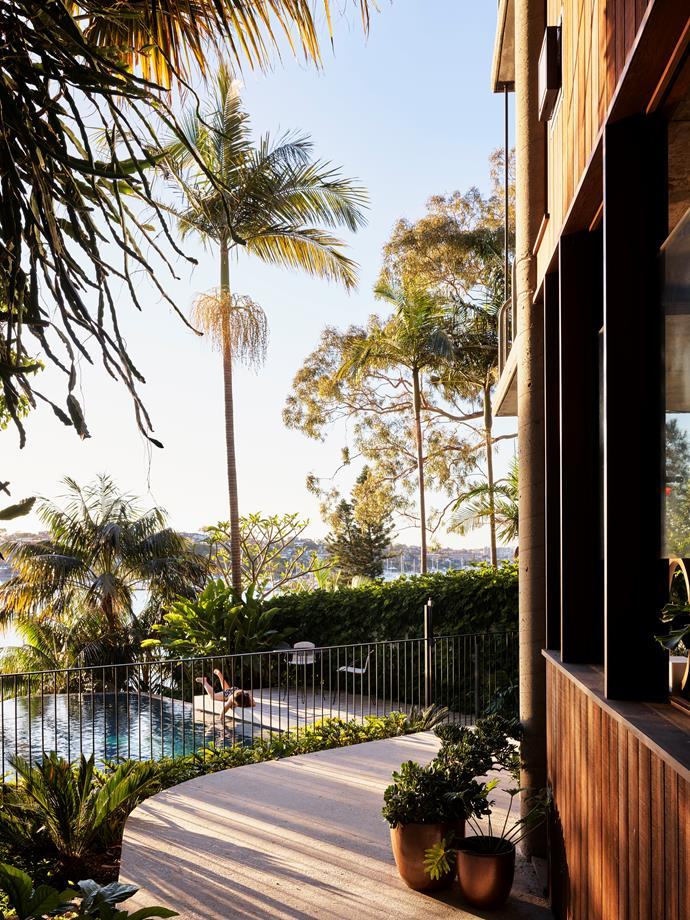 A curved terrace overlooking the pool offsets the angularity of the house. Planters from Garden Life.