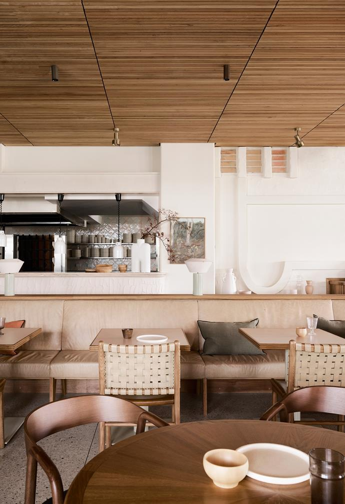 """""""The Balsa restaurant furniture has a domestic sensibility with a vintage nod,"""" says Sophie Harris from Alexander & Co. The space showcases custom-designed furniture fabricated locally by BCI and Contempo, and offshore by Walk the Plank."""