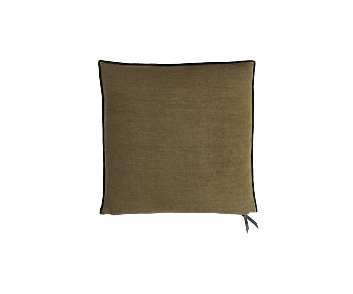 "Maison De Vacances stone washed cushion in Khaki, $499, [Polite Society](https://www.polite-society.com.au/product/maison-de-vacances-stone-washed-cushion-khaki-50x50/|target=""_blank""|rel=""nofollow"")"