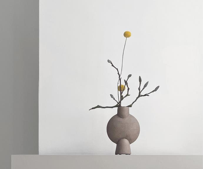 "Sphere square mini vase in Sand, $109, [Black Blaze](https://www.blackblaze.com.au/products/sphere-vase-bubl-mini-taupe|target=""_blank""|rel=""nofollow"")"