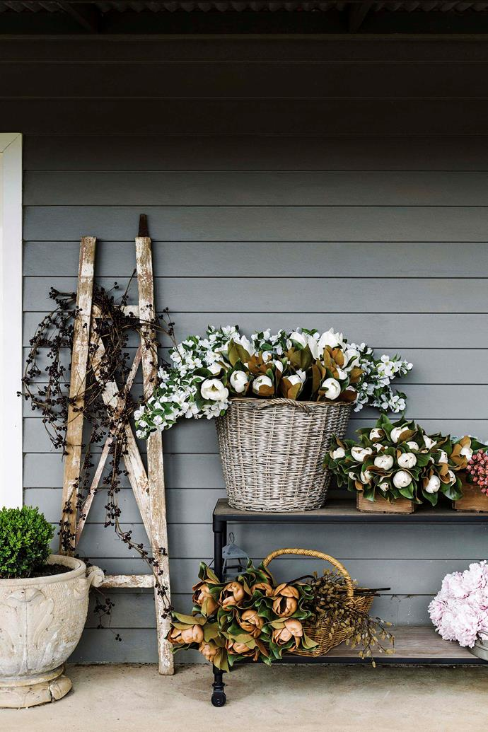 A selection of blooms used in Sarah's wreaths.
