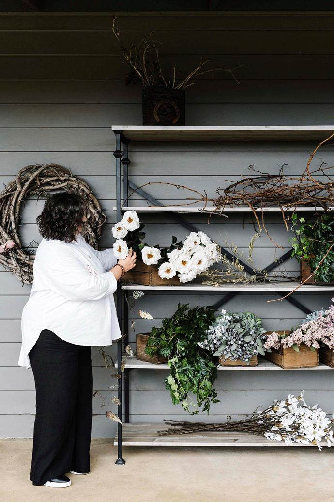 Sarah put her shop and interior design business on hold to care for her mother and another family member. Twelve months ago she invested in materials specifically for wreaths, and it has paid off.
