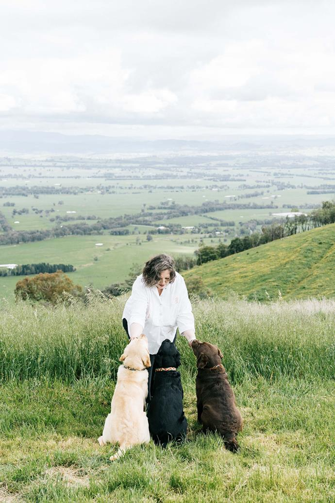 Sarah and her three labradors. The views from the property extend to the Victorian Alps.