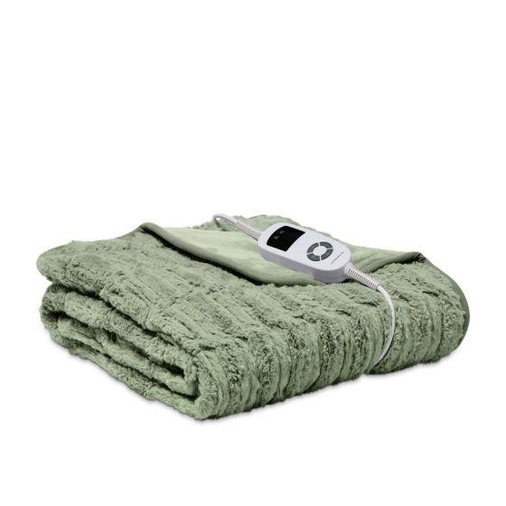 """The colour of green moss and just as soft without the damp, this sage heated throw is for those who love an [earthy palette](https://www.homestolove.com.au/earthy-interior-colour-trend-5325