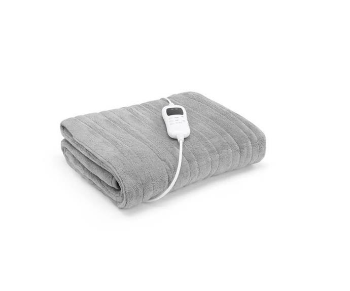 """In a chic grey, this warming blanket is just what the minimalists asked for. Plus, you can throw it in the wash when it needs freshening up!  **Ovela Washable Plush Electric Heated Throw Blanket in Silver, $37.99, [Kogan](https://www.kogan.com/au/buy/ovela-washable-plush-electric-heated-throw-blanket-160cm-x-130cm-silver-ovela/?utm_source=google&utm_medium=product_listing_ads&gclid=CjwKCAjwt8uGBhBAEiwAayu_9cRka1uneEoWm7uKfEfg7trqF9ec5iSaufvY8Z2sQz-657qRVDJFaxoCTDcQAvD_BwE