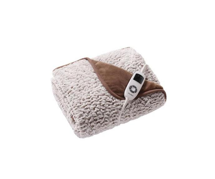 """In a faux-sheepskin fleece fabric, this heated throw is the companion you need on those super chilly nights. Double sided, it will keep you cosy for hours on end - until of course the 19hr auto-safety setting stops you from boiling.   **Dreamaker 500gsm Faux Fur Electric Heated Throw Blanket in Stone White, $99.95, [Dick Smith](https://www.dicksmith.com.au/da/buy/decor-innovations-dreamaker-500gsm-faux-fur-electric-heated-throw-blanket-stone-white-160x120cm-9009854/