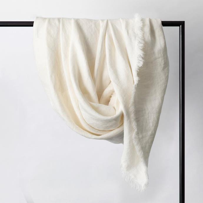 """Freya Linen Throw in Snow, $175, [Cultiver](https://cultiver.com.au/products/freya-linen-throw-snow?size=One%20Size