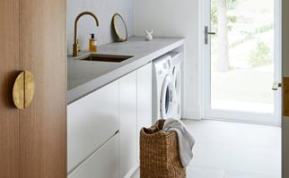 Contemporary laundry with wicker baskets