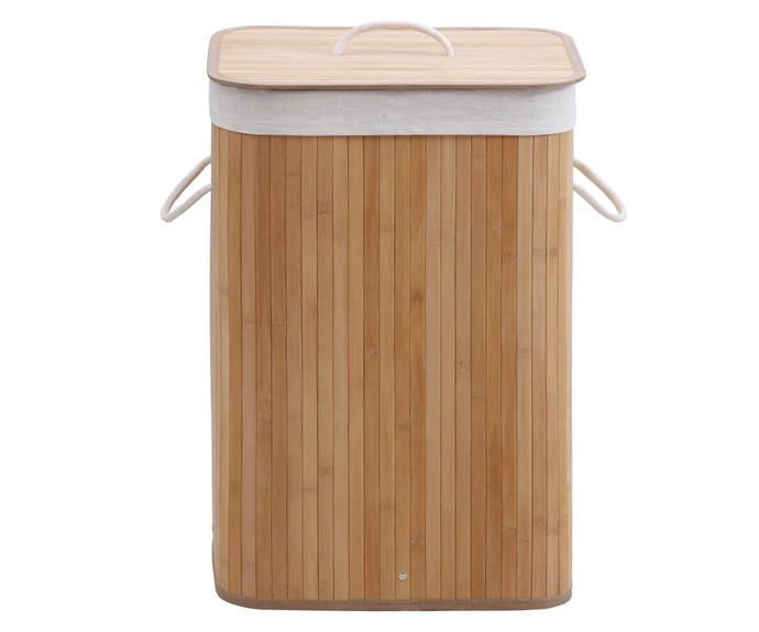 """**[Rectangular 'Helix' folding bamboo laundry hamper, $49.95, Temple & Webster](https://www.templeandwebster.com.au/Rectangular-Helix-Folding-Bamboo-Laundry-Hamper-2000199-ESSB1093.html target=""""_blank"""" rel=""""nofollow"""")** <br></br> Want a hamper that's worthy of display in your bathroom or laundry? Made from 100% genuine bamboo, this hamper won't cramp your home's style. It features a naturally anti-microbial fabric liner (made from a blend of poly, cotton and viscose) and the lid will help keep odours at bay. You can even purchase a few and simply fold down the spares when they're not in use."""