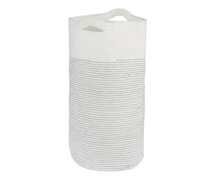 """[**'Malua' laundry hamper, $60, Freedom**](https://www.freedom.com.au/product/24302340 target=""""_blank"""" rel=""""nofollow"""") <br></br> For lovers of coastal style, you can't go past this two-tone hamper with contrast stitching. With a pair of sturdy handles and a lightweight construction, this basket will help you transport the laundry from one room to another with ease."""