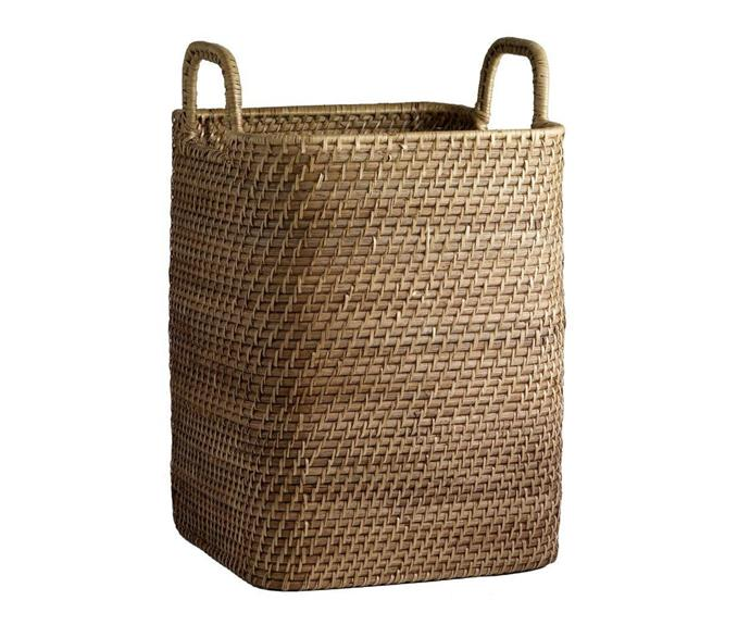 """[**Modern weave handled basket, $99, West Elm**](https://www.westelm.com.au/modern-weave-handled-baskets-d111 target=""""_blank"""" rel=""""nofollow"""")  <br></br> While many woven laundry hampers look great, they're often quite flimsy and look a bit tired after just a few months of use. If you're after something sturdier, this option from West Elm is perfect. Made from woven rattan peel wound tightly around a durable frame, this basket is designed to hold a lot while retaining its shape."""