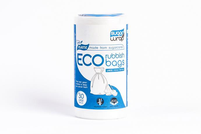 """**4.** Eco Rubbish Bags – Large, $8.95, [Urban Ethos](https://urbanethos.co/products/sugarwrap-eco-rubbish-bags-large target=""""_blank"""" rel=""""nofollow"""")"""