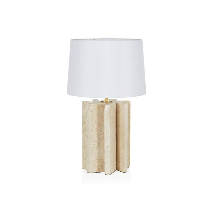 """A blend between sculpture and lighting accessory, this Coco Republic table lamp is functional art. With a travertine base and a touch of brass between the base and shade, it's a glamourous choice for a contemporary home.   **Diaz Travertine Table Lamp, $755, [Coco Republic](https://www.cocorepublic.com.au/diaz-spiral-table-lamp-old