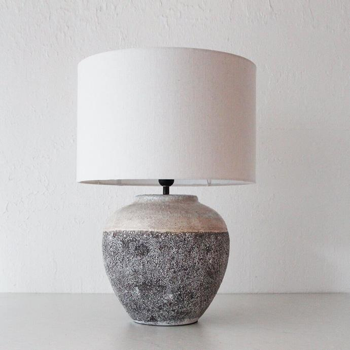 """Organic minimalism is one of the hottest trends on today, and this ceramic lamp ticks all its boxes. With a rustic rough edge and dual tone, the lamp is the lighting choice for a [modern farmhouse-style interior](https://www.homestolove.com.au/farmhouse-style-interior-ideas-4345