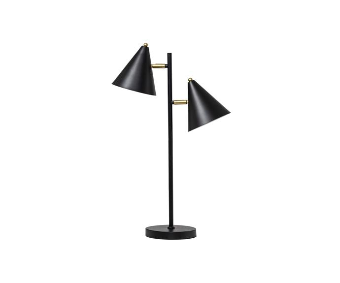 """If you have a particularly dark corner in your home, a double table lamp like the Kennedy will solve all your problems. Its dark and statement shape is ideal for a professional and contemporary home office.   **Kennedy Table Lamp in Black, $95, [Interior Secrets](https://www.interiorsecrets.com.au/products/kennedy-table-lamp-black