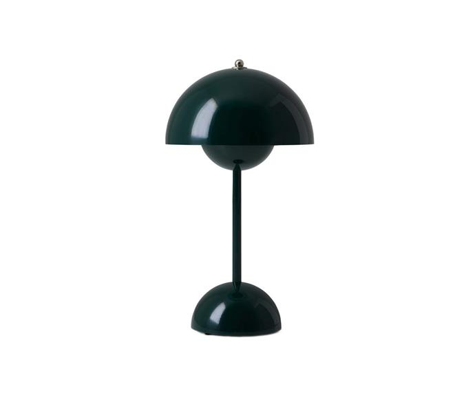 """The Flowerpot by &Tradition's is a cordless version of the iconic Flowerpot table lamp designed by Verner Panton. Portable and pretty, the dark green table lamp will certainly bring """"peace, love"""" and joy to any space.  **&Tradition Flowerpot VP9 portable table lamp in dark green by Verner Panton, $268, [Finnish Design Shop](https://www.finnishdesignshop.com/lighting-table-lamps-table-lamps-flowerpot-vp9-portable-table-lamp-dark-green-p-32081.html