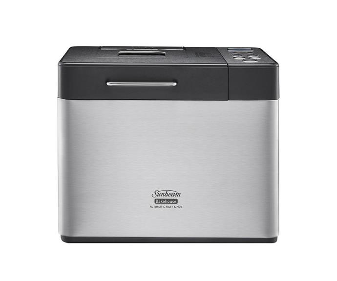 """[**Sunbeam Bakehouse 1kg bread maker in brushed stainless steel, $189, Myer**](https://www.myer.com.au/p/bakehouse-breadmaker-bm4500-107110270 target=""""_blank"""" rel=""""nofollow"""")<br> Now for a good looking bread maker you won't have to stow away under the bench in the presence of polite company. Featuring a brushed stainless steel construction, this loaf maker allows you to select the size of the bread you're making (small, medium and large) and an automatic fruit and nut dispenser."""