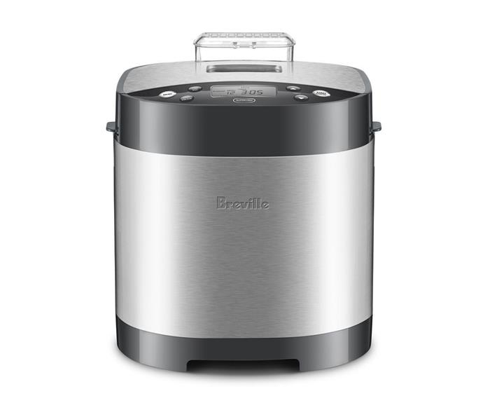 """[**Breville The Baker's Oven Bread Maker, $159, Target**](https://www.target.com.au/p/breville-the-bakers-oven-bread-maker/63937794 target=""""_blank"""" rel=""""nofollow"""")<br> Take the guesswork out of baking the perfect loaf of bread by getting on board with Breville's budget bread maker, available at Target. It may be cheaper than other models on the market, but it still comes with all the features you're likely to find in an expensive model: automatic fruit and nut dispenser, 15 hour timer and 12 automatic programs. While reviews say this machine bakes delicious bread, they also say it's a little on the noisy side. It may not be a deal-breaker, but it's something to keep in mind if you're hoping to let the bread bake while you sleep."""