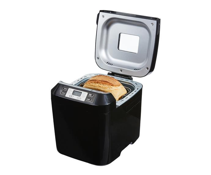 """[**Kmart Bread Maker in black, $69, Kmart**](https://www.kmart.com.au/product/bread-maker---black/3433809 target=""""_blank"""" rel=""""nofollow"""") <br> If value is what you're looking for, Kmart's bread maker (which comes in at under $100) has it in spades. With an average rating of 4.5 stars, there's a reason Kmart shoppers are raving about this appliance. Aside from being a little noisy during the kneading cycle, this handy gadget is a winner. It has a loaf capacity of 800g. An LCD screen with 12 pre-set programs and a 60-minute 'keep warm' function."""