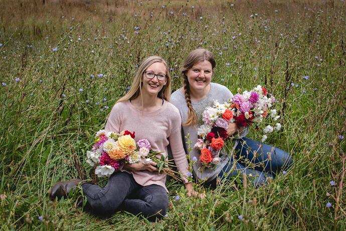 """Cousins Mel Kercheval (left) and Eliza Henry-Jones (right) launched sustainable Gather Flower Farm in September 2020. """"Mel takes the photos, runs our social media and handles enquiries and all the administration. I'm more in charge of the growing side of things,"""" says Eliza."""