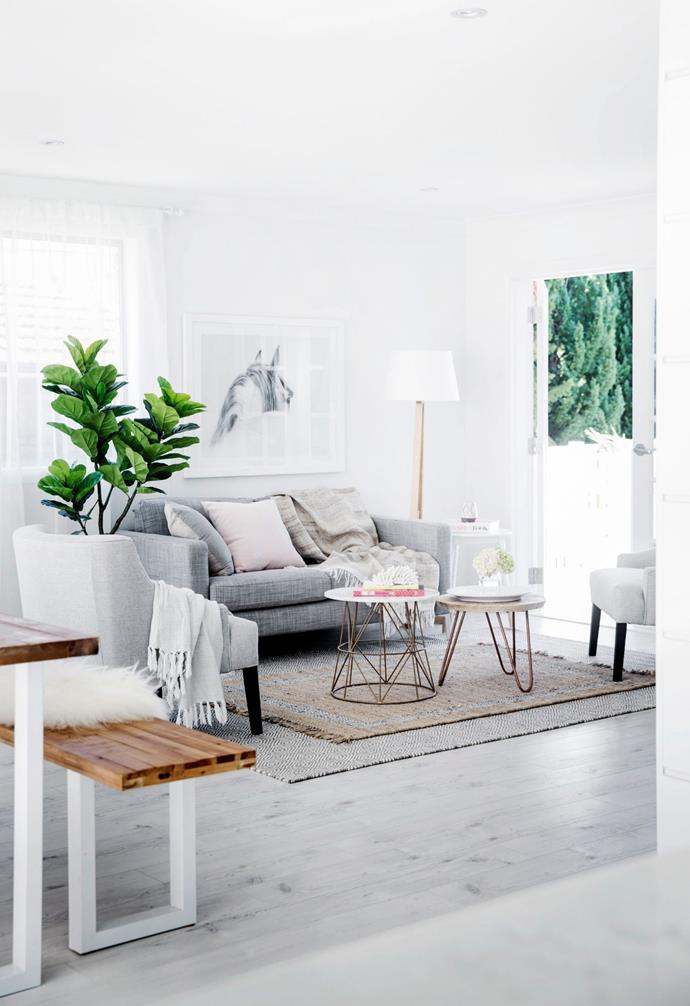 The rugs are from Hamptons At Home, and armchairs and side tables from Oz Design Furniture – their 'Ivy' chair is similar and their 'Flamingo' side table also has a marble top.