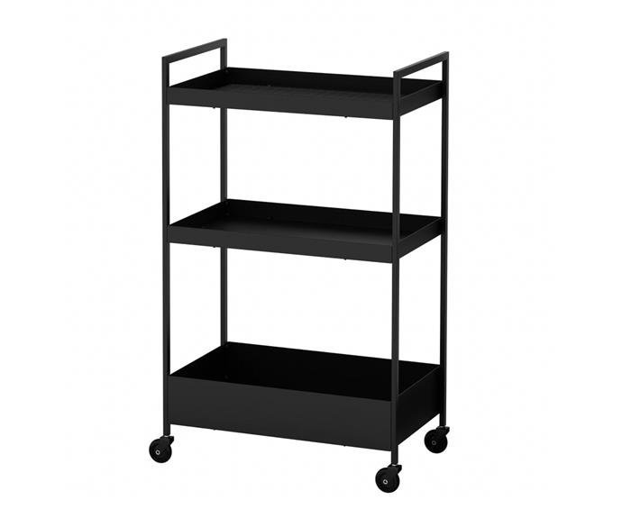 """**Nissafors trolley, $39.99, [Ikea](https://www.ikea.com/au/en/p/nissafors-trolley-black-60407365/