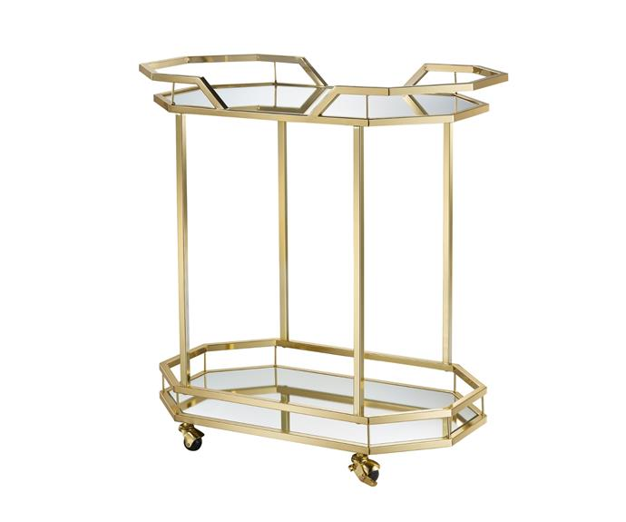 """**Bahamas Metal & Glass Bar Cart, $269, [Temple & Webster](https://www.templeandwebster.com.au/Bahamas-Metal-and-Glass-Bar-Cart-SNBBCGDM-TMPL2876.html#view-image
