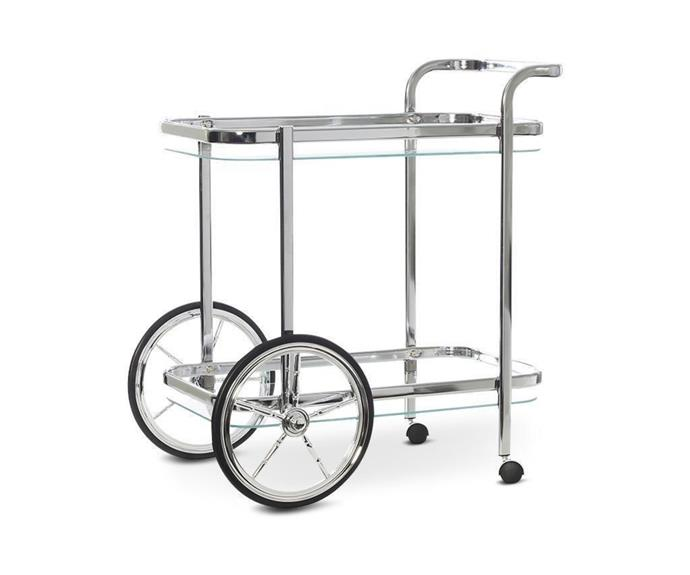 """**Smith Chrome Glass Bar Cart, $199, [Interior Secrets](https://www.interiorsecrets.com.au/products/smith-chrome-glass-bar-cart