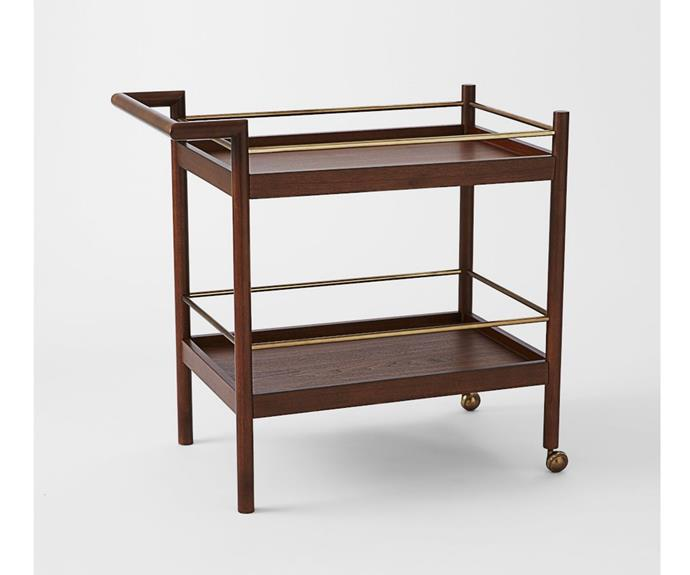 """**Mid-Century Bar Cart, $679, [West Elm](https://www.westelm.com.au/parker-mid-century-bar-cart-h415