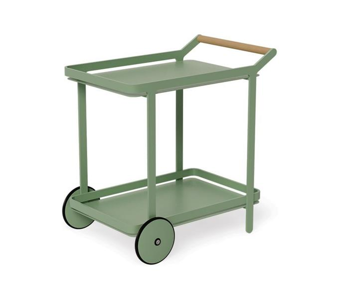 """**Imola Teak Bar Cart, $895, [Huset](https://www.huset.com.au/product/imola-outdoor-teak-bar-cart-drinks-sage-green