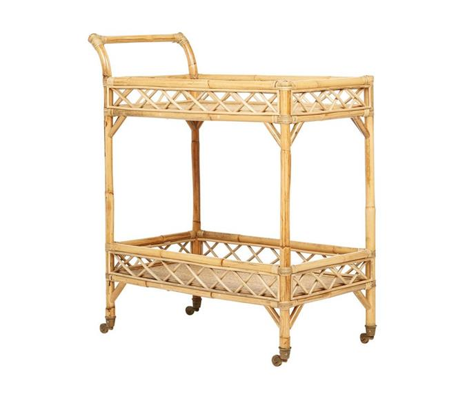 """**Rattan Bar Cart - Criss Cross, $484.50, [Fenton & Fenton](https://www.fentonandfenton.com.au/products/rattan-bar-cart-criss-cross