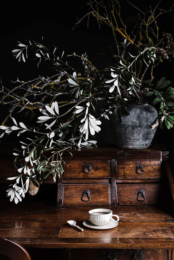 """The desk Bec works from is a [French antique](https://www.homestolove.com.au/french-provincial-style-10-key-elements-6741 target=""""_blank"""") that Angus's parents gave the couple."""