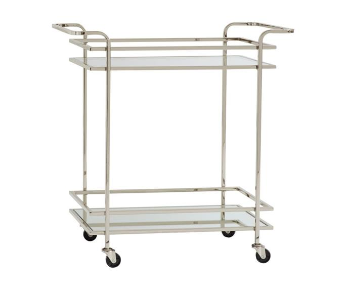 """**Skylar Bar Cart, $649, [Pottery Barn](https://www.potterybarn.com.au/skylar-rectangular-bar-cart
