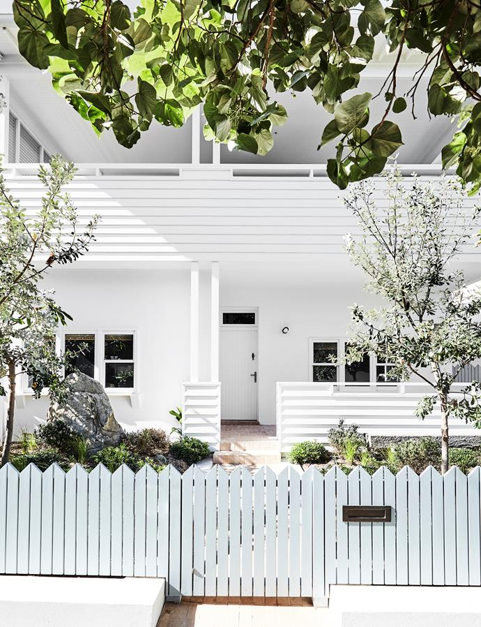 The home's corner block allowed the owners to relocate the entrance to the north, creating space for sitting areas at both the eastern and western aspects. In time, the banksia will grow to create a privacy screen. Landscaping by Terralha.