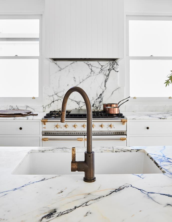 All appliances from Winning Appliances. Brodware 'City Plus' mixer tap, Sydney Tap and Bathroomware. Paonazzo marble benchtop, Granite & Marble Works. Lacanche 'Cluny' cooker, Manorhouse Lacanche.