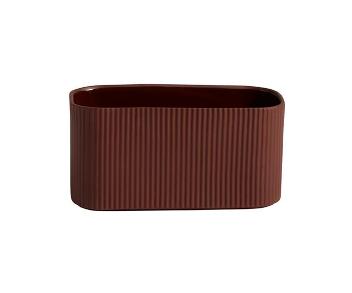 """**HAY Facade herb pot in dark terracotta by COBE Kilo, $71, [Finnish Design Shop](https://www.finnishdesignshop.com/decoration-indoor-gardening-planters-plant-pots-facade-herb-pot-dark-terracotta-p-30331.html