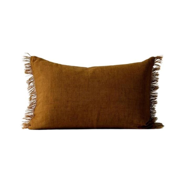 """**Vintage linen fringe rectangle cushion, $59.95, [Aura Home](https://www.aurahome.com.au/vintage-linen-fringe-rectangle-cushion-tobacco target=""""_blank"""" rel=""""nofollow"""")**<br><br> This lovely rectangular cushion with fringe detailing will add warmth to any bed or sofa and has been hand made using natural, hand-woven linen fibres. *Afterpay available.*"""