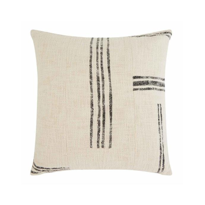 """**Morelia cushion, $59.95, [Freedom](https://www.freedom.com.au/product/24301732 target=""""_blank"""" rel=""""nofollow"""")**<br><br>  This striped design will look right at home with any minimalist decor scheme. Pair with a neutral bedspread or sofa for a look straight from the stylist's book."""