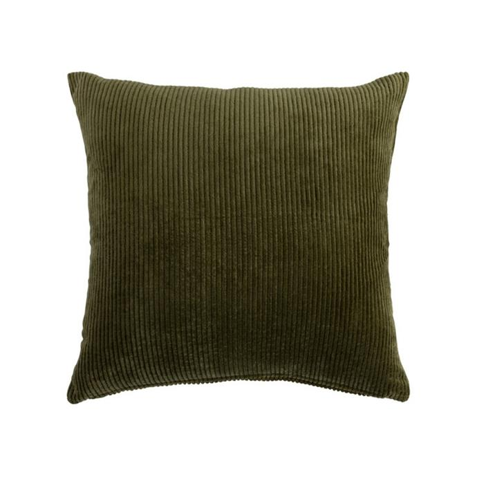"""**Farrow corduroy cushion, $39.95, [Pillow Talk](https://www.pillowtalk.com.au/farrow-corduroy-cushion-muslfarro21 target=""""_blank"""" rel=""""nofollow"""")**<br><br> If your space is lacking texture, this olive green corduroy cushion will do the trick. This design is available in a selection of colourways to perfectly suit your scheme."""