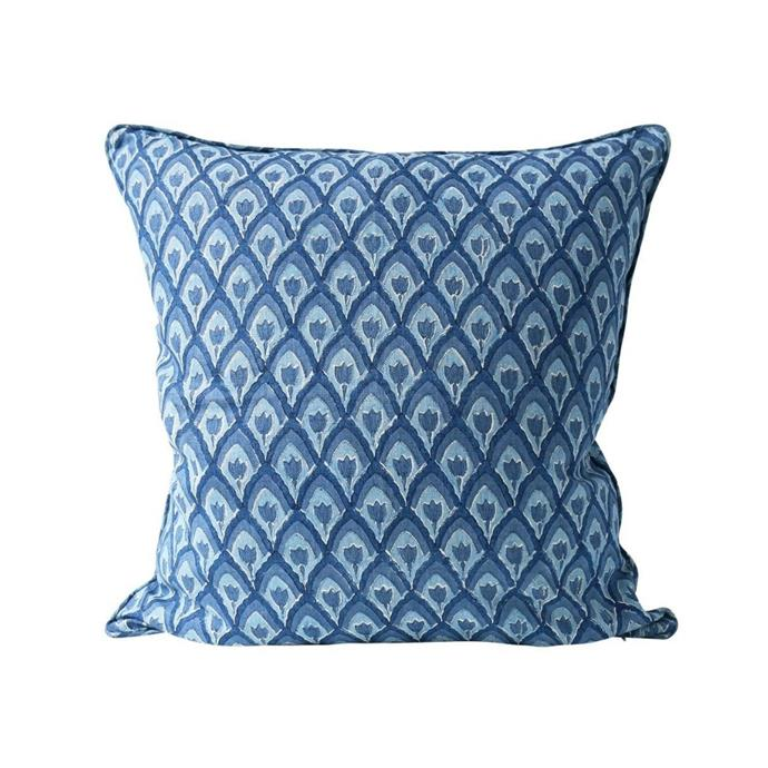 """**Haveli Riviera cushion, $169, [Tara Dennis](https://www.taradennisstore.com/collections/soft-furnishings-blues/products/havelirivieracushion55x55cm target=""""_blank"""" rel=""""nofollow"""")**<br><br> If you're channeling a coastal theme within your home, this calming blue design will fit in seamlessly. Made from 100% natural linen it will inject an elevated sensibility into your space."""