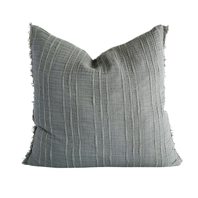 """**Soft linen cushion, $109.99, [Living by Design](https://livingbydesign.net.au/collections/plush-feather-scatter-cushions-pillows/products/soft-steel-linen-cushion-60-x-60 target=""""_blank"""" rel=""""nofollow"""")**<br><br> Featuring a textured linen, this elegant cushion will be a timeless element in any room. The cotton fringing adds a subtle boho twist to this cool and calm design."""