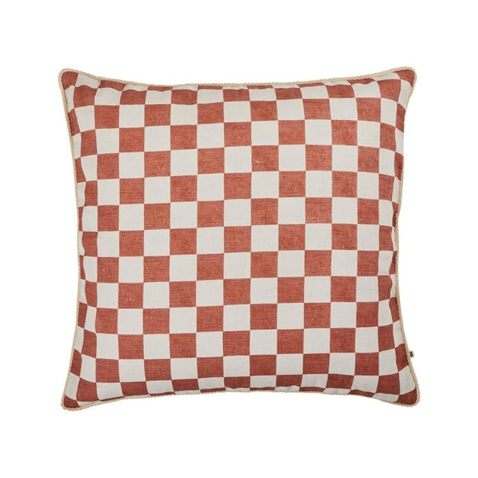 """**Bonnie & Neil small checkers cushion, $200, [Life Interiors](https://lifeinteriors.com.au/collections/cushions/products/bonnie-neil-small-checkers-cushion-60cm target=""""_blank"""" rel=""""nofollow"""")**<br><br> Showcasing an original artwork by Bonnie that has been hand screen printed onto white linen, this chic cushion will add a playful pattern to your favourite nook."""