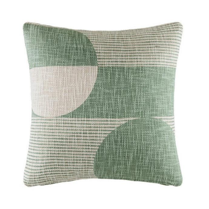 """**Kas 'Bron' cotton cushion, $49.95, [Temple & Webster](https://www.templeandwebster.com.au/Bron-Cotton-Cushion-KASK2781.html target=""""_blank"""" rel=""""nofollow"""")**<br><br> Sage is the colour of the moment and this contemporary design is embracing the calming hue beautifully."""