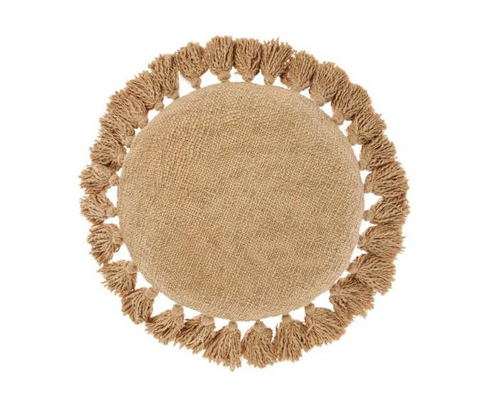 """**Florida round cotton cushion, $74.95, [Zanui](https://www.zanui.com.au/Florida-Round-Cotton-Cushion-202665.html target=""""_blank"""" rel=""""nofollow"""")**<br><br> Evoke a cheerful vibe in your lounging space with adorable boho-style cushion. Woven from pure, textural cotton for a naturally soft-to-touch and resilient design to beautify your space for years to come. This design comes in a selection of colourways."""